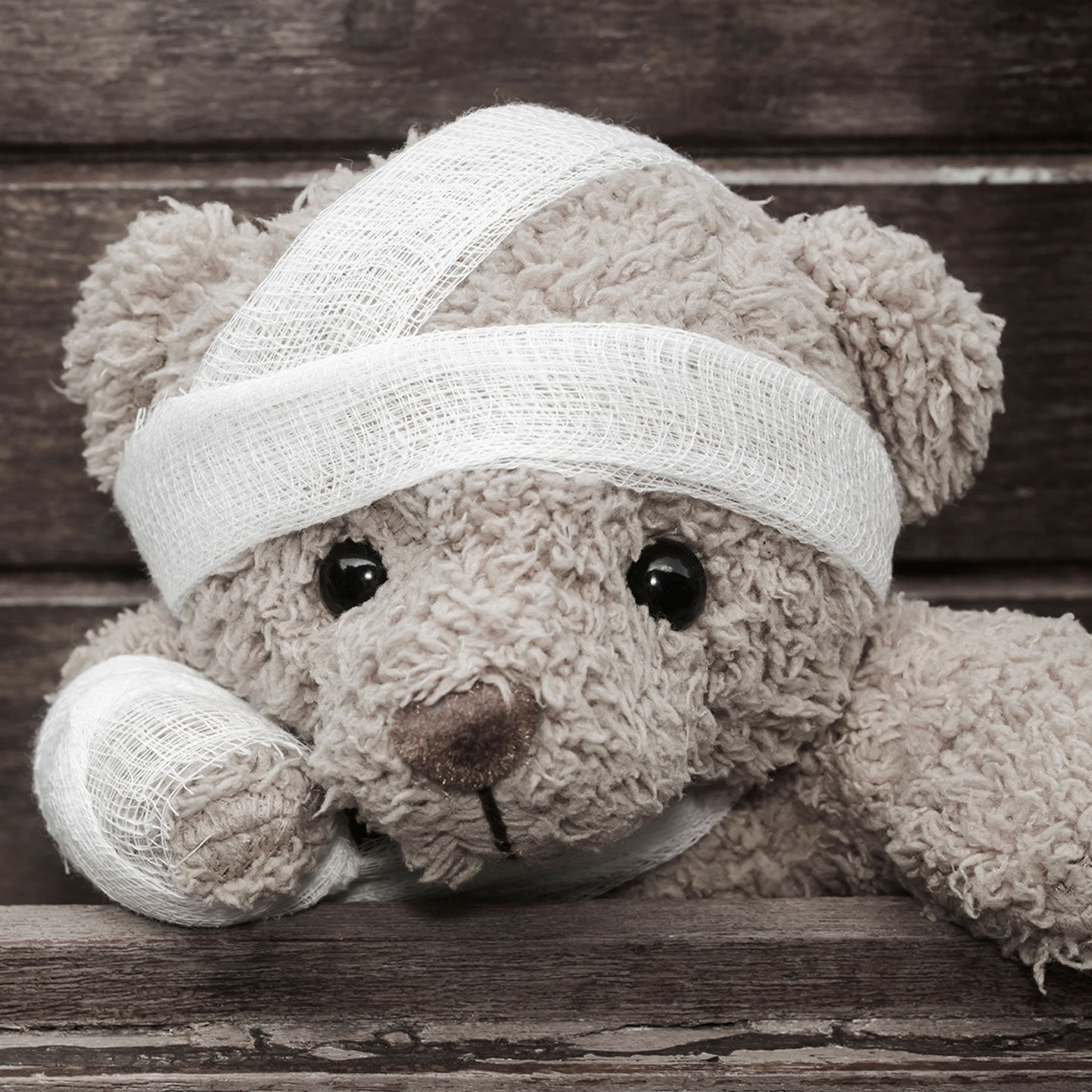 Photo of a teddy bear with gauze bandage wrappings