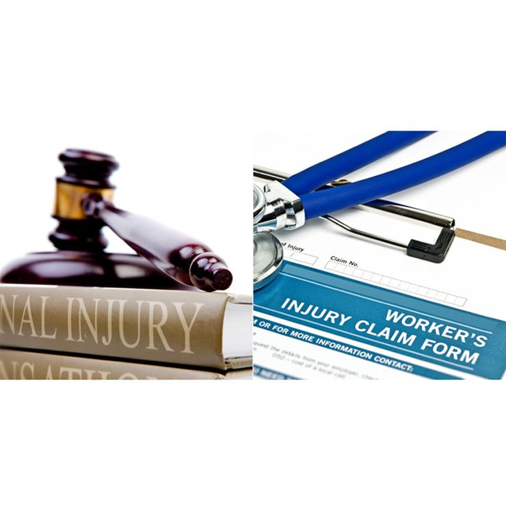 Photo of a Personal Injury book and a Workers' Compensation form